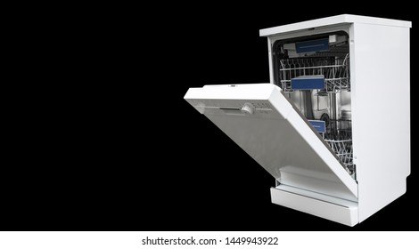 Dishwasher machine isolated on a black background. Internal shelves of dishwasher for the distribution of dishes and a basket for cutlery. Brand New Open dishwasher close up. Dry cutlery closeup