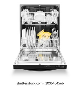 Dishwasher Machine Isolated on White Background. Front View of Built-In Dishwasher. Modern Stainless Steel Open Dishwasher Range. Kitchen Appliances. Domestic Appliances. Home Appliances. Clipping Pat