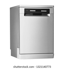 Dishwasher Machine Isolated on White Background. Home Innovation. Side View of Modern Freestanding Dishwasher Range in Stainless Steel. Domestic and Household Kitchen Appliance