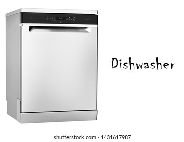 Dishwasher Machine Isolated on White Background. Domestic and Kitchen Major Appliances. Home Appliance. Side View of Modern Freestanding Stainless Steel Dishwasher Range
