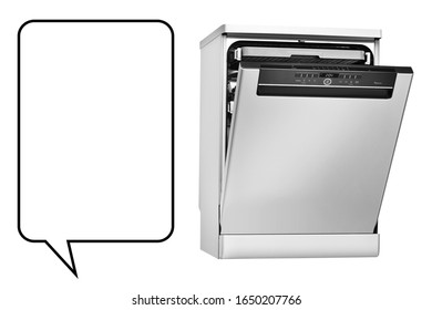 Dishwasher Machine Isolated on White Background. Kitchen Domestic Major Appliances. Modern Stainless Steel Freestanding Open Dishwasher Range Side View. Home Innovations