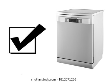 Dishwasher Machine Isolated on White Background. Side View of Modern Stainless Steel Freestanding Dishwasher Range. Domestic and Kitchen Appliances. Home Major Appliance