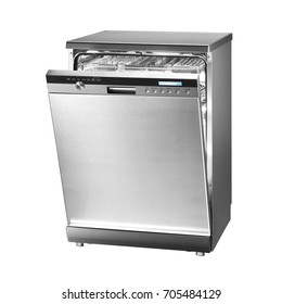Dishwasher Machine Isolated on White Background. Modern Freestanding Stainless Steel Dish Washer Range. Domestic and Kitchen Appliances. Clipping Path