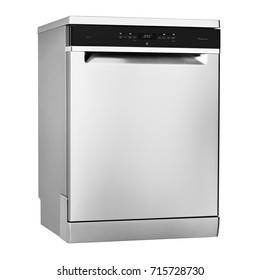 Dishwasher Machine Isolated on White Background. Side View of Modern Freestanding Stainless Steel Dish Washer Range. Domestic and Kitchen and Home Appliances. Clipping Path