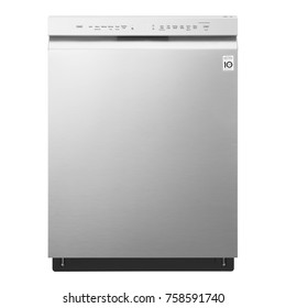Dishwasher Machine Isolated on White Background. Front View of Built-In Dishwasher. Modern Stainless Steel Dishwasher Range. Domestic Appliances. Kitchen Appliances. Home Appliances. Clipping Path