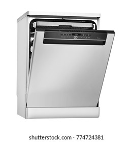 Dishwasher Machine Isolated on White Background. Side View of Modern Freestanding Stainless Steel Open Dish Washer Range. Domestic and Kitchen Appliances. Clipping Path
