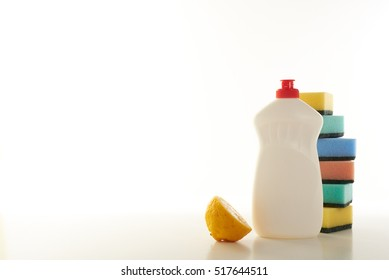 dish-washing detergent with the smell of lemon on a white background