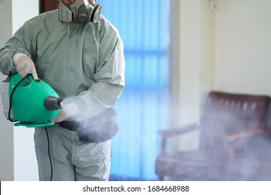 Disinfectant sprayers and germs that adhere on objects on the surface. prevent infection Covid 19 viruses or coronavirus And various pathogens. concept healthcare system ,stay safe and hand sanitizer.