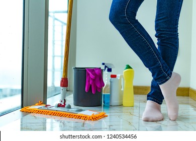 Disinfectants, products for cleaning the house and mopping. Housework, household chores. Washing the floor.