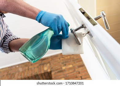Disinfection of door handles to protect against viruses and bacteria