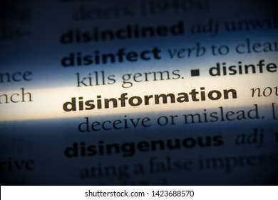 disinformation word in a dictionary. disinformation concept.