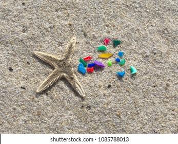 Disintegration meme - Starfish and microplastics on a beach
