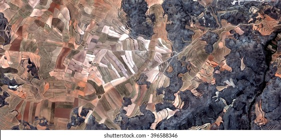 disintegration,allegory, tribute to Picasso, abstract photography of the Spain fields from the air, aerial view, representation of human labor camps, abstract, cubism, abstract naturalism,
