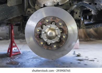 Disk break of the car in the garage