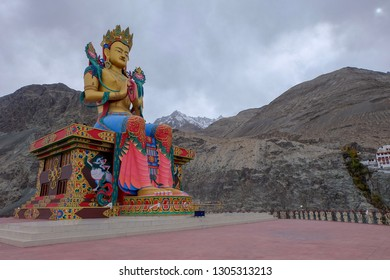 It is Diskit Monastery which is near by Sand dune where we rides camels. It is the oldest and largest Buddhist monastery (gompa) in the Nubra Valley of Ladakh, northern India. Really beutiful!