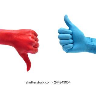 dislike red hand and like blue hand over white