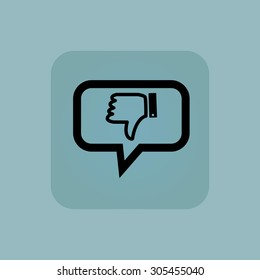 Dislike symbol in chat bubble, in square, on pale blue background
