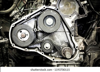 Dismantled timing belt housing of a 4x4 vehicle