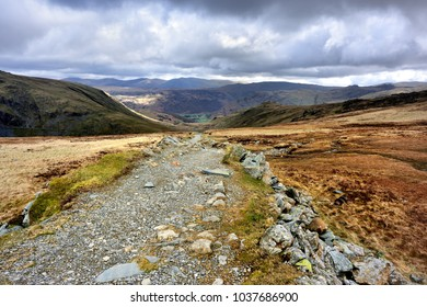 Dismantled tramway track down to Honister Hause