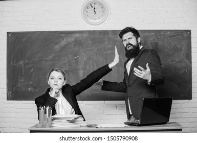 Dismissed objection. School teacher and parent. Stop talking to me. Criticism and objection concept. Teacher wants man to shut up. Please shut up. Tired of complaints. Indifferent about objection.