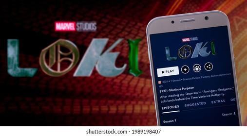 Disney Plus with Loki, new Marvel serie on TV screen, 11th Jun, 2021, Sao Paulo, Brazil