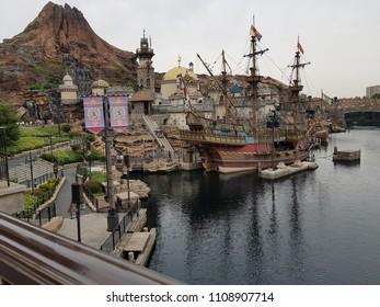 Disney Sea,Japan,May 31.2018:Disney  is a 176-acre (71.22 ha) theme park at the Tokyo Disney Resort , located in Urayasu, Chiba Prefecture,It was the fastest theme park in the world to reach .
