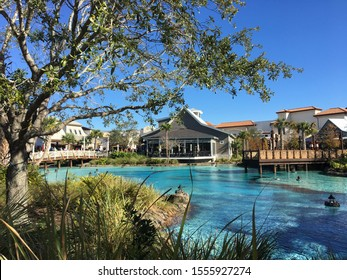 Disney Springs lake with shops