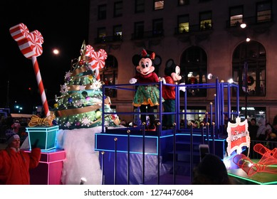 Disney's Mickey and Minnie Mouse on a parade float in the Festival of Lights Parade, Chicago, IL November 17, 2018