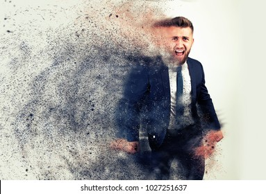 Dispersion effect on a screaming business man with a beard