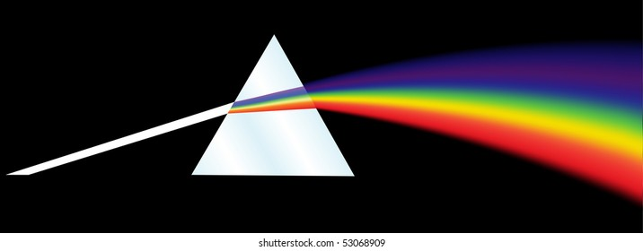 A dispersion prism illustration on a black background. Raster illustration.