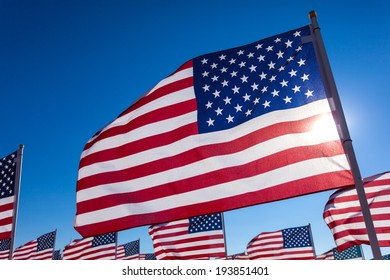 A display of American flags with a sky blue background