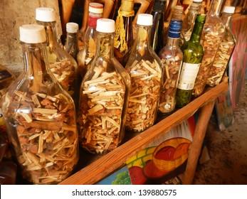 "Display of bottles with ""Mama Juana"" in small village, Samana Peninsula, Dominican Republic"