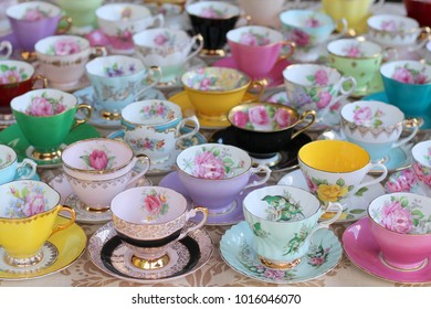 Display Collection vintage tea cups and saucers pastel and floral - high tea party