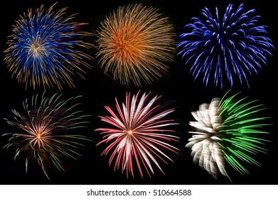 display of colorful firework explosions