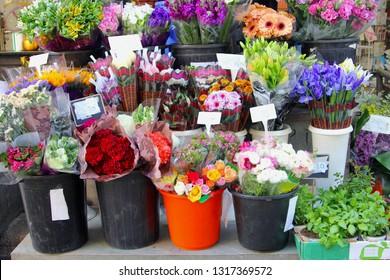 Display of colorful flower bouquets for sale at Carmel market, Tel Aviv, Israel