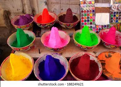 Display of colorful paint at the market, Pushkar, Rajasthan, India