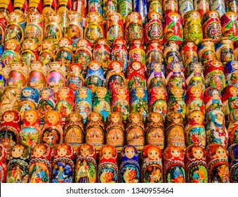Display of colorful traditional matryoshka dolls, Moscow, Russia