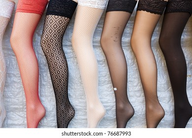 Display of different colorful tights.