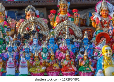 Display of dolls and figurines (Bommai Golu in tamil language) is a doll festival celebrated during navaratri in south India, specially in tamilnadu. with selective focus on the subject.