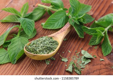Display of dried mint leaves on a spoon surrounded by fresh mint leaves.