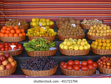 Display of fruits in the indoor market of Funchal, Madeira, Portugal
