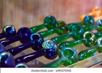 Display of glass pipes for smoking medicinal and recreational marijuana or weed, pot in a store in San Francisco famous Haight Ashbury neighborhood