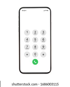 Display Keypad with numberst for mobile phone.Keypad for template in touchscreen device. mockup phone Isolated on white background