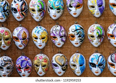 Display of masks at a souvenir shop in the street of Venice, Italy. Masks have always been an important feature of the famous Venetian carnival.