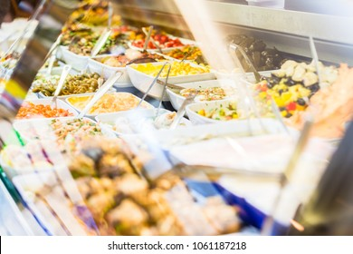 Display with Meze appetizers in delicatessen shop