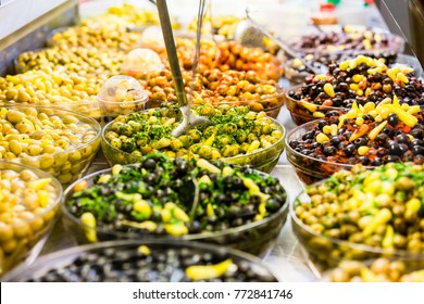 Display with Meze appetizers in delicatessen shop at the market