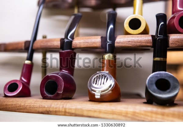 Display Old Smoking Briar Pipes On Stock Photo (Edit Now