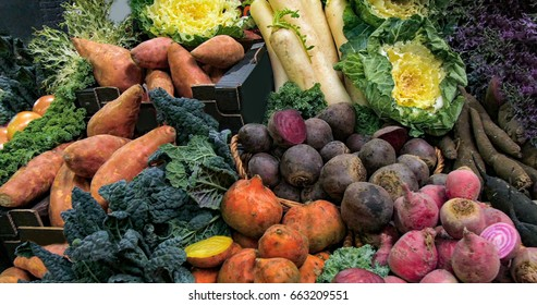 Display of organic autumnal vegetables roots at a food market