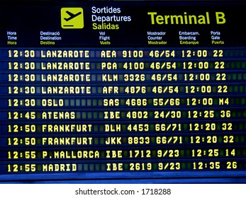 Display panel showing flight arrival time in an airport