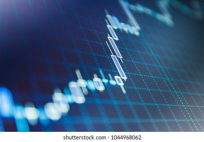 Display of quotes pricing graph visualization.  Financial statistic analysis on dark background with growing financial charts. Stock analyzing. Price chart bars.